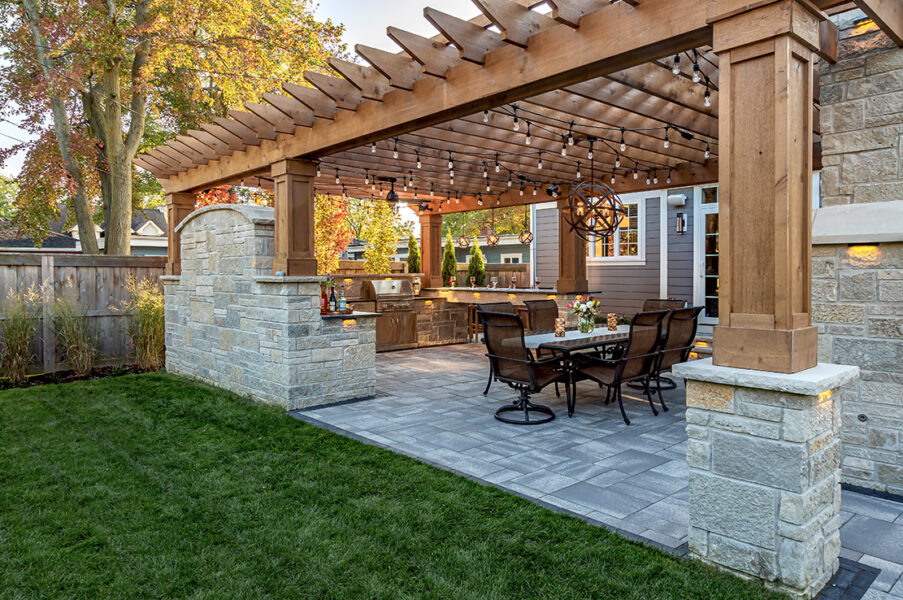 Masonry Walls and Column Pergola