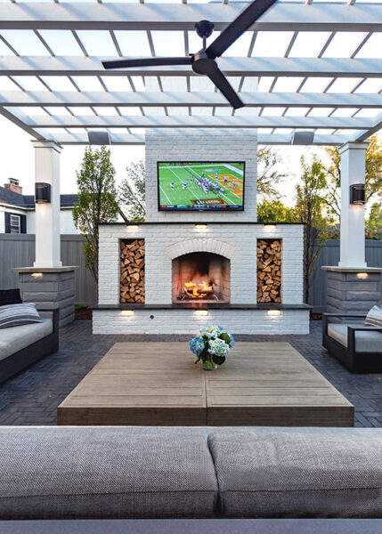 Fireplace with TV Outdoors