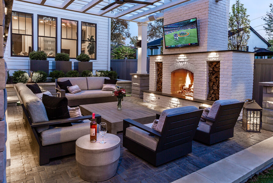 Outdoor Living Night Fireplace