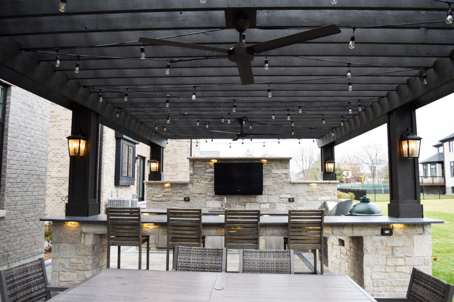 Dark Wood Pergola Unlit