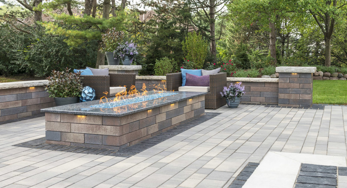 Fire Pit Blue Rectangle