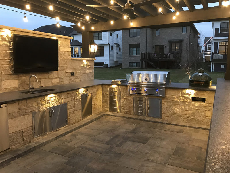 Lit Outdoor Kitchen