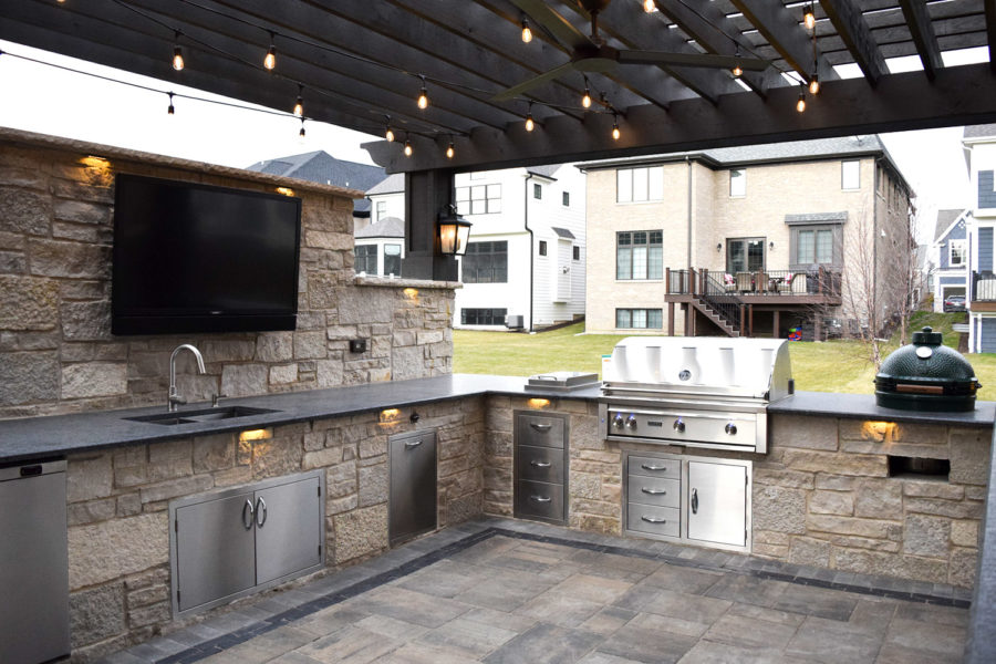 Outdoor Beige Stone Kitchen