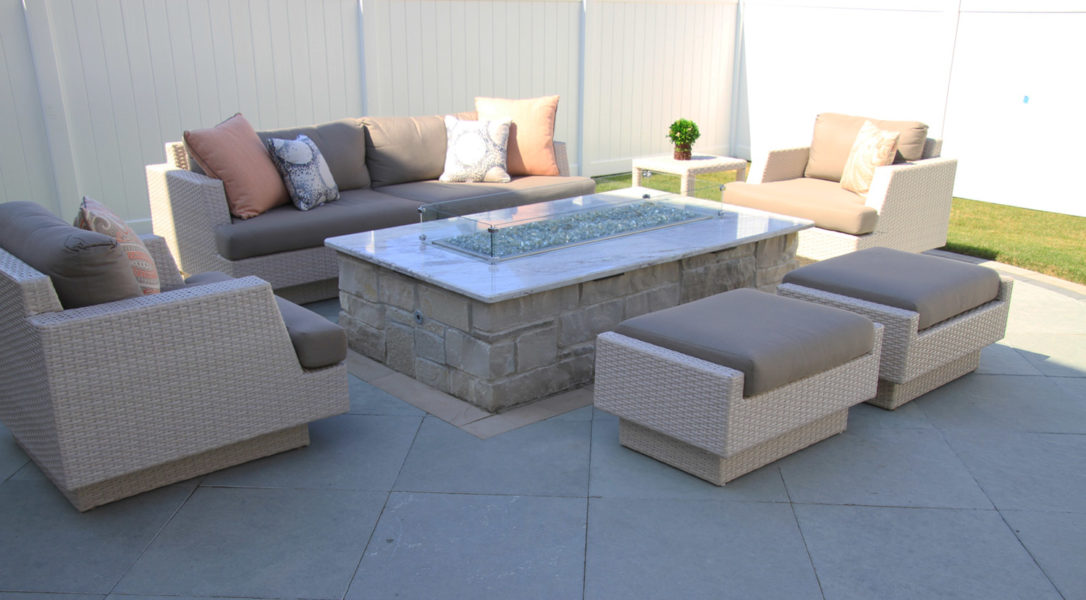 Pale Pink Fire Pit Area